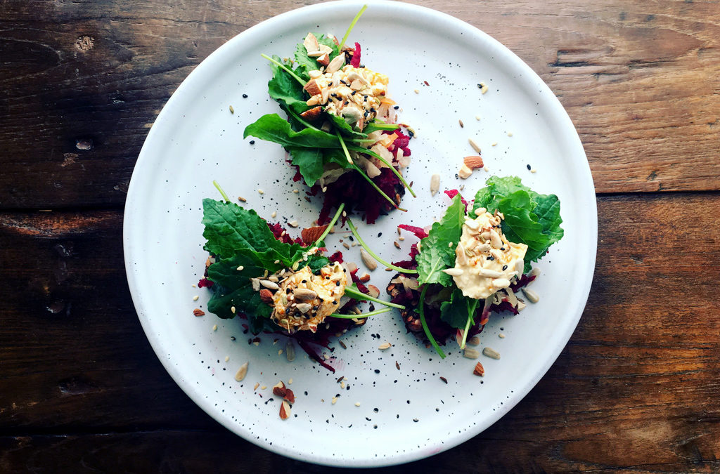 Beetroot, Sauerkraut, Baby Kale and Hummus on Toast