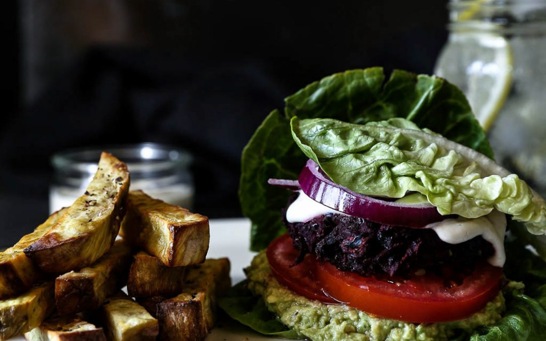 Beetroot Black Bean Burgers with Kumara Chips