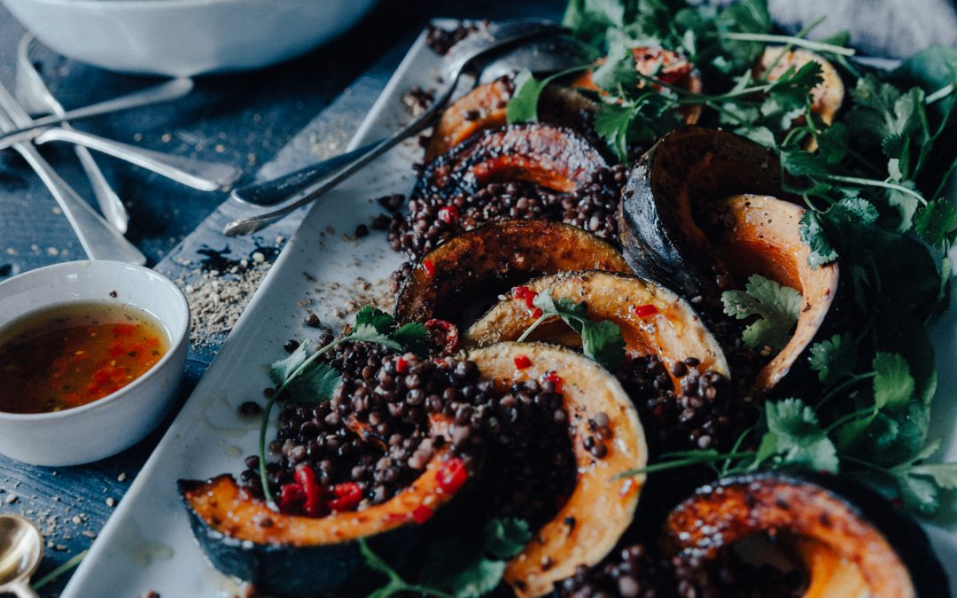 Roast Pumpkin & Lentil Spinach Salad with a Lemon Chilli Dressing
