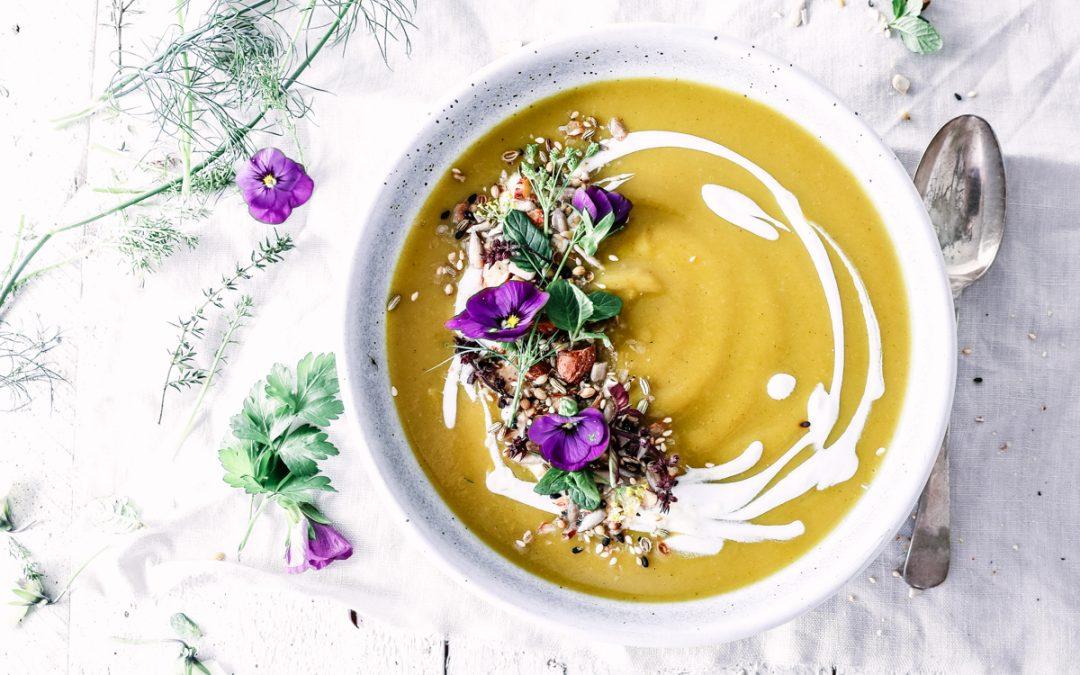 Spiced Broccoflower, Parsnip & Sweet Potato Soup with Coconut Cream