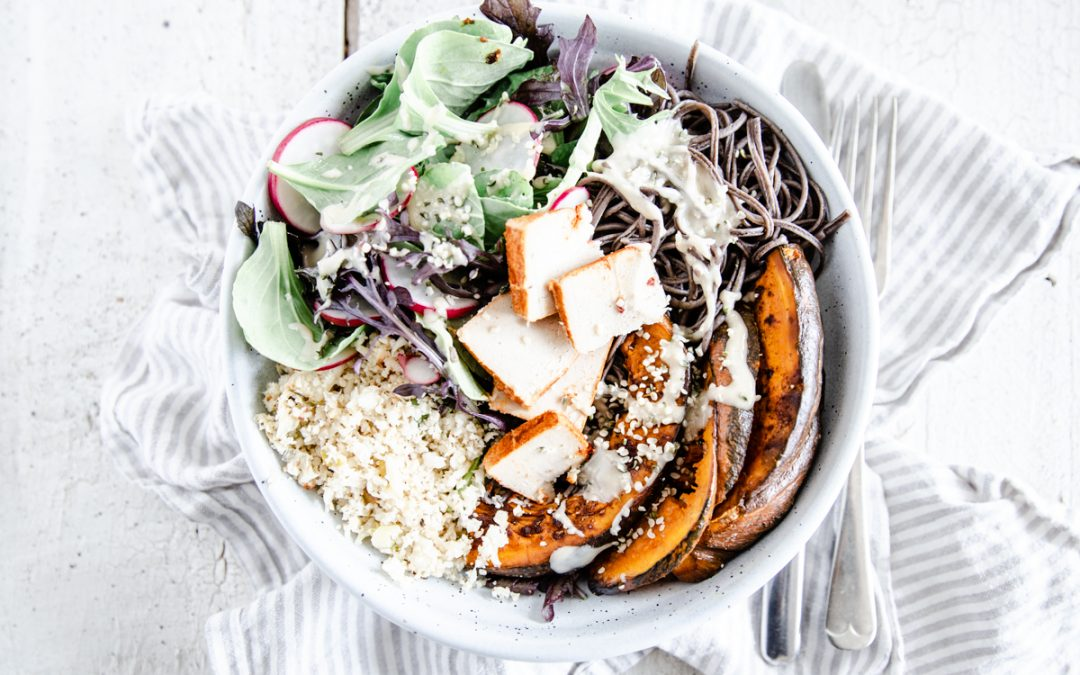 Roasted Pumpkin & Black Bean Noodle Nourish Bowl