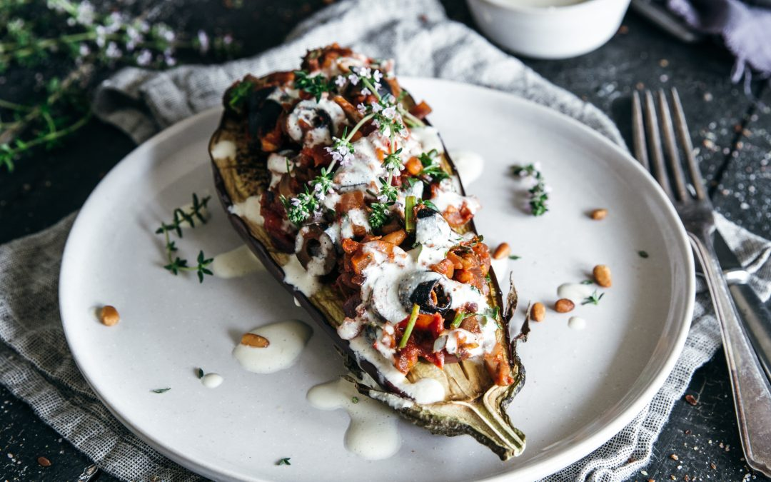 Roasted Aubergine with Puttanesca Topping & Creamy Cashew Sauce